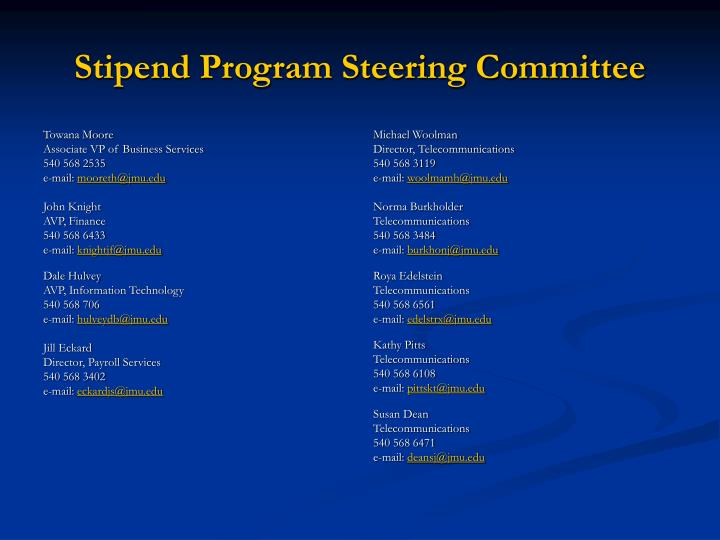 Stipend program steering committee