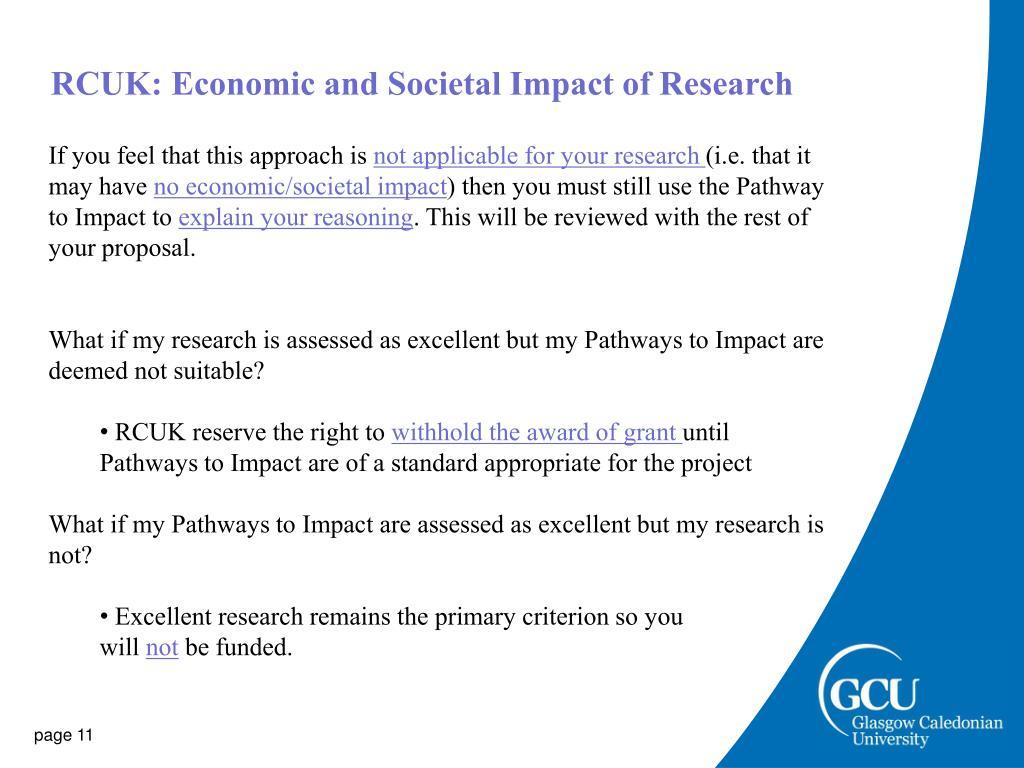 RCUK: Economic and Societal Impact of Research