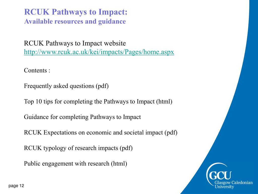RCUK Pathways to Impact: