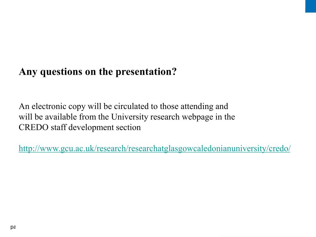 Any questions on the presentation?