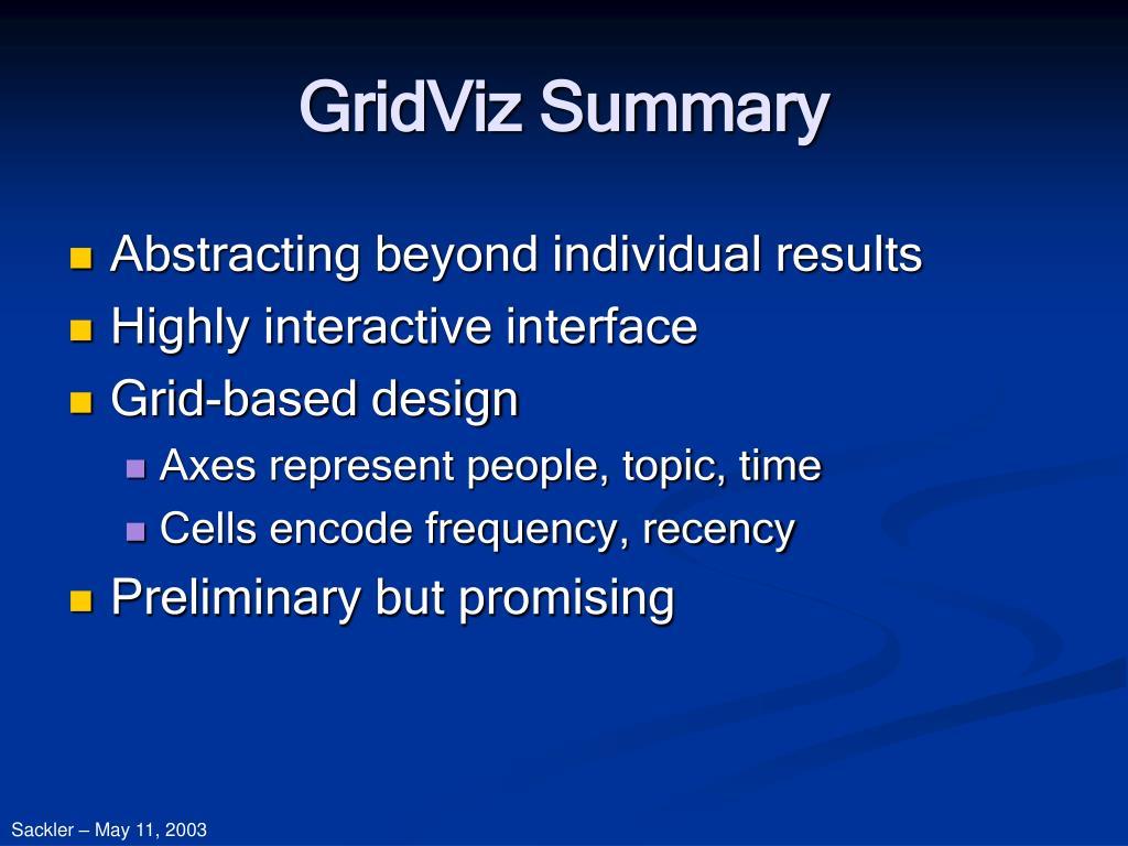 GridViz Summary