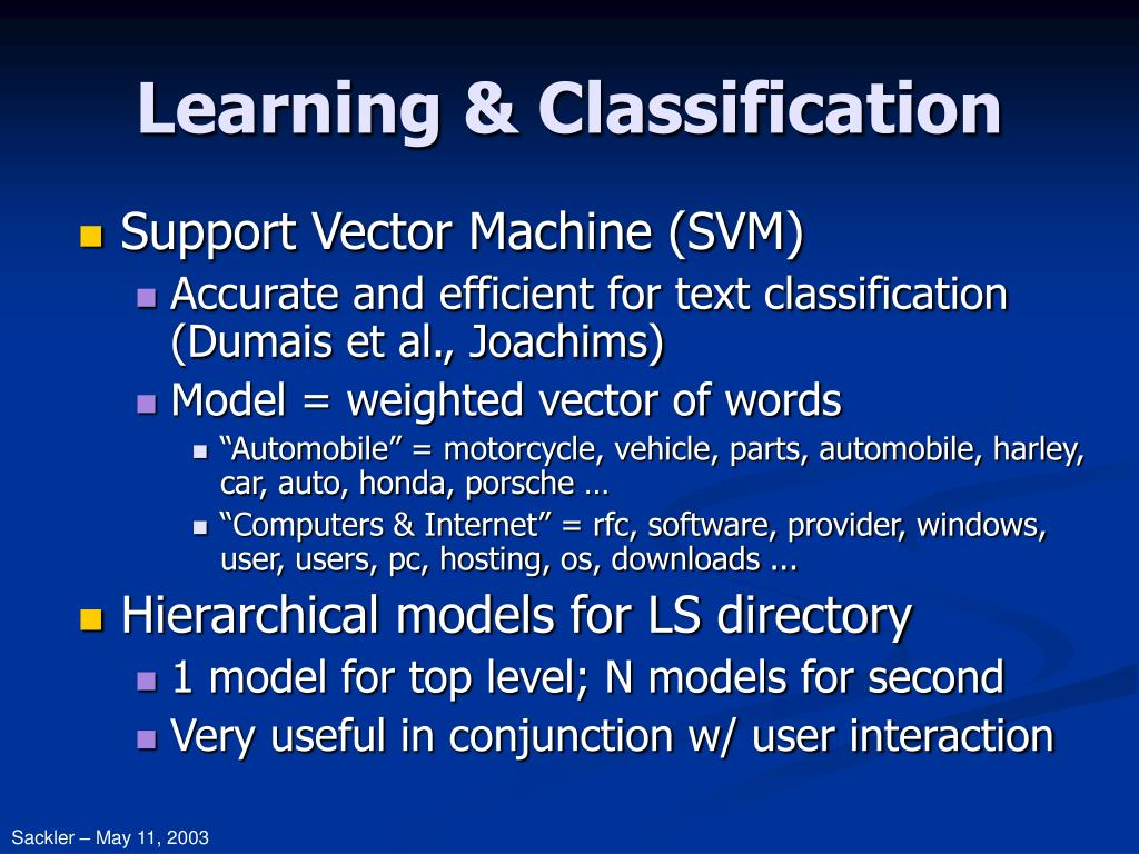 Learning & Classification