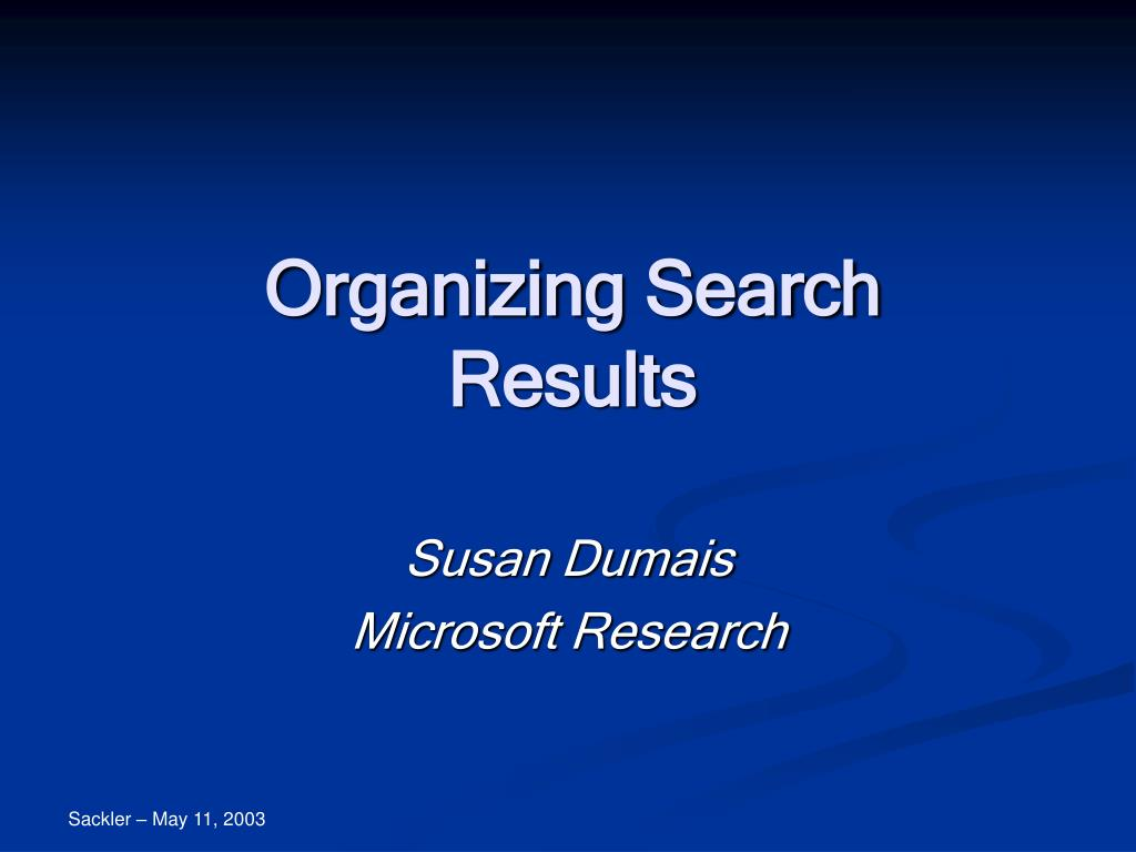 organizing search results l.