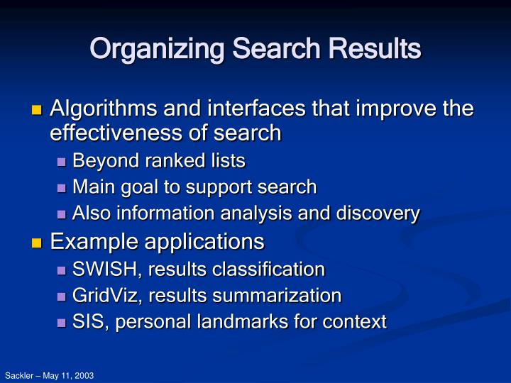 Organizing search results2