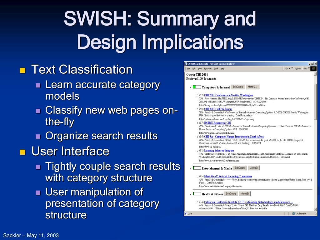 SWISH: Summary and