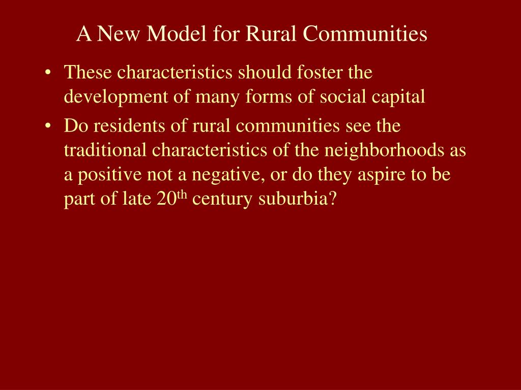 A New Model for Rural Communities