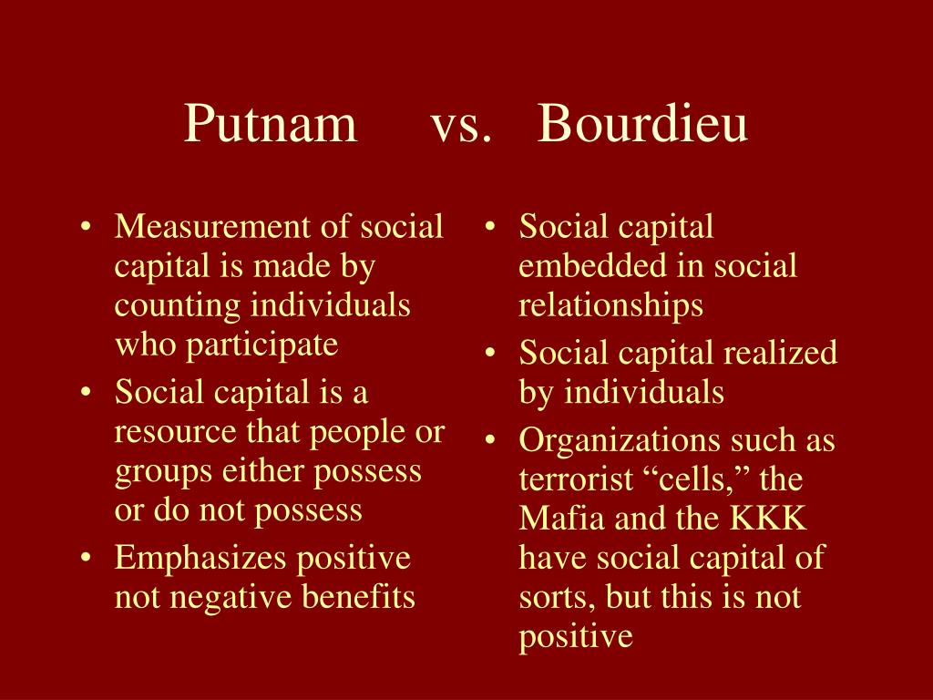Measurement of social capital is made by counting individuals who participate