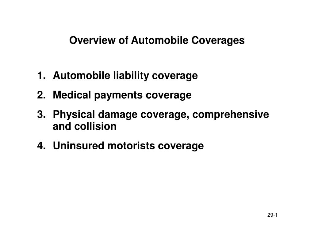 overview of automobile coverages l.