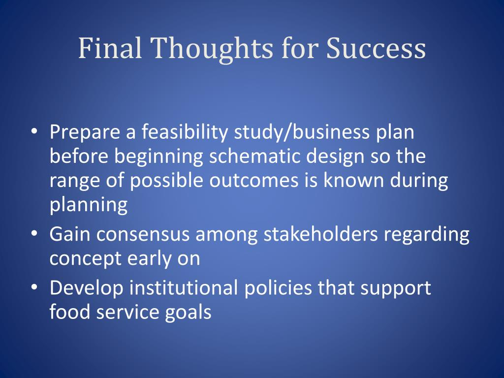 Final Thoughts for Success
