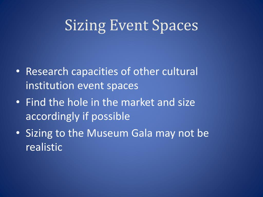 Sizing Event Spaces