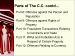 parts of the c c contd