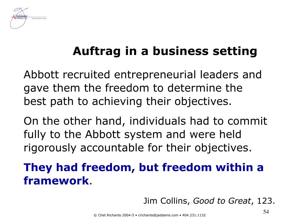 Auftrag in a business setting