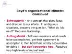 boyd s organizational climate continued
