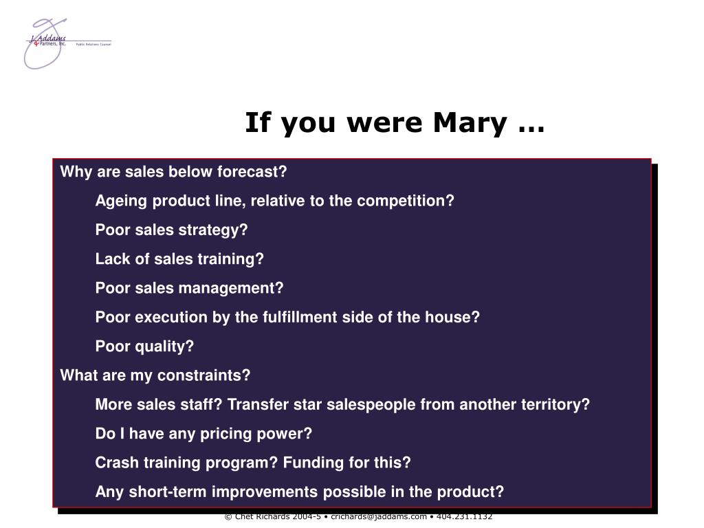 If you were Mary …