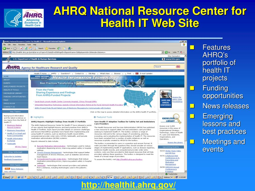 AHRQ National Resource Center for Health IT Web Site