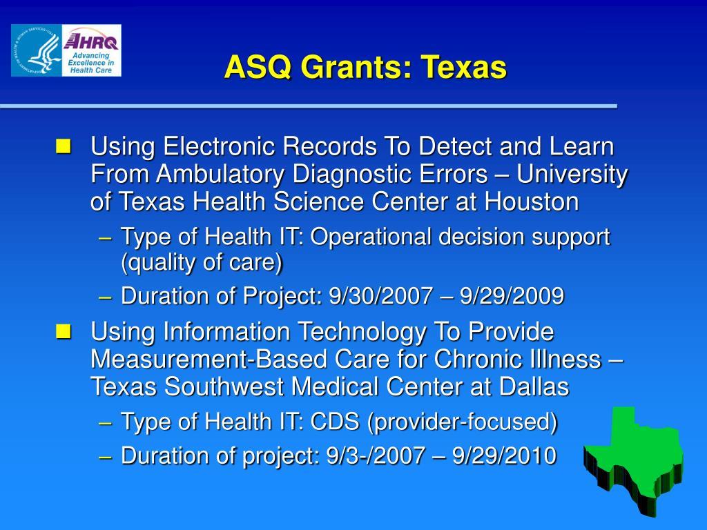 ASQ Grants: Texas