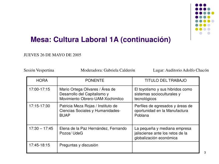 Mesa: Cultura Laboral 1A (continuación)