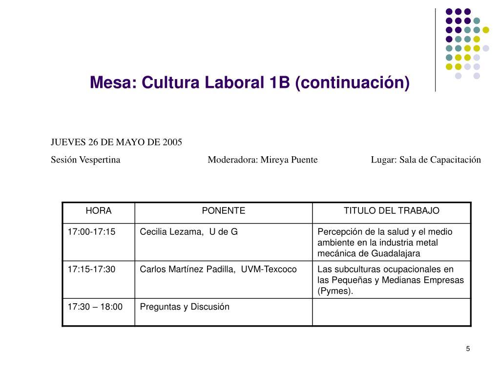 Mesa: Cultura Laboral 1B (continuación)