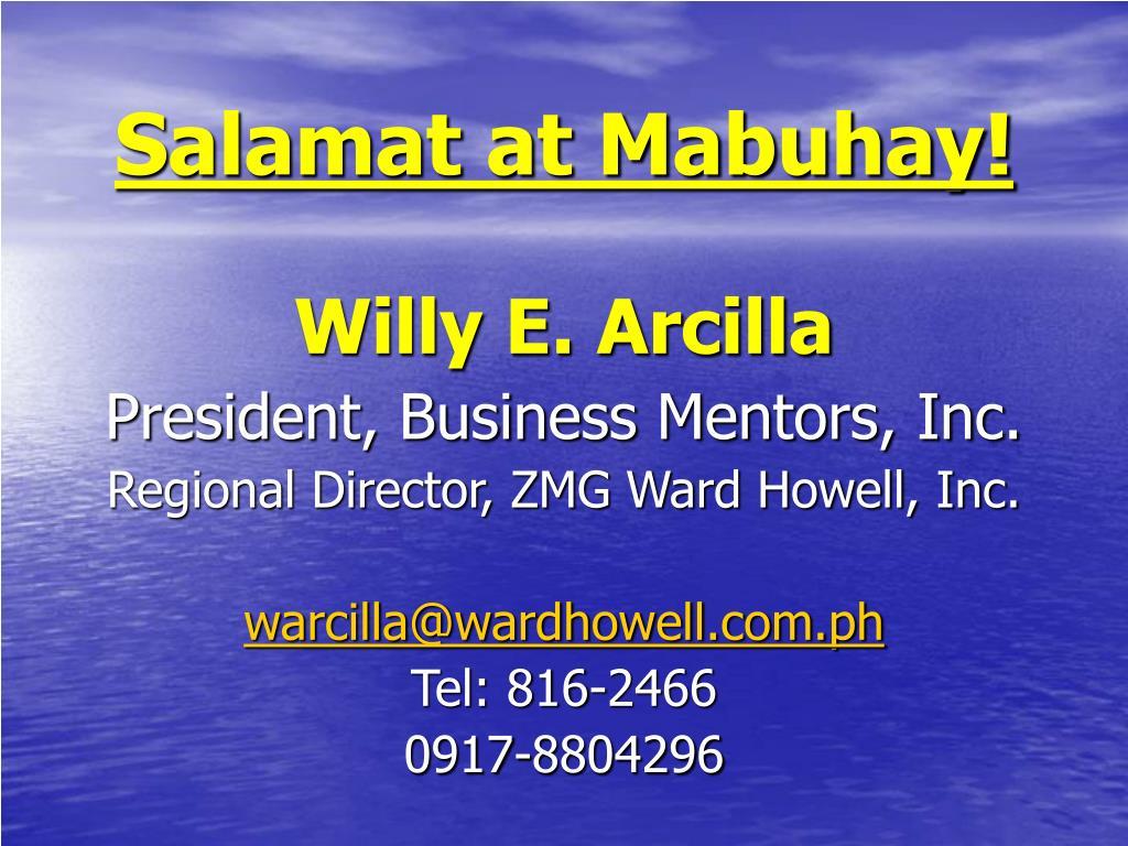 Salamat at Mabuhay!