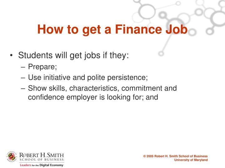 How to get a Finance Job