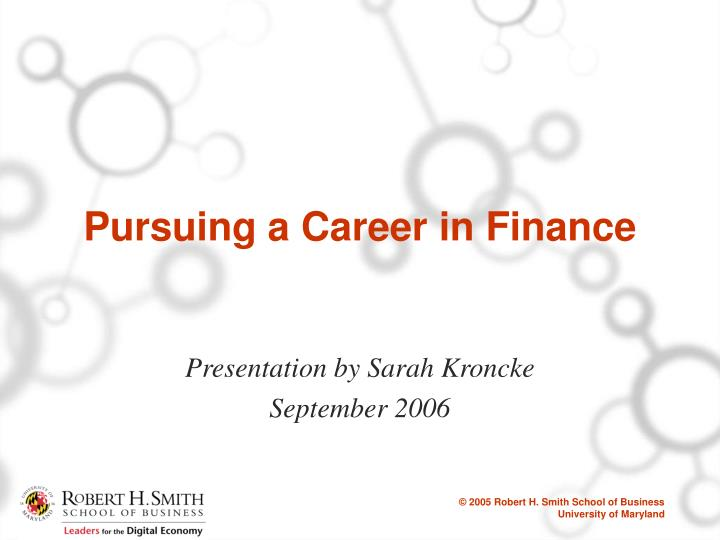 pursuing a career in finance n.