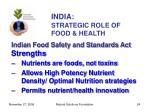 india strategic role of food health24