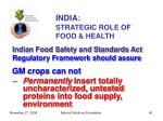 india strategic role of food health40