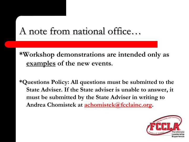 A note from national office
