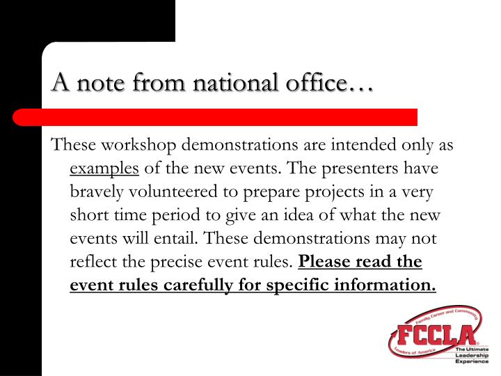 A note from national office3