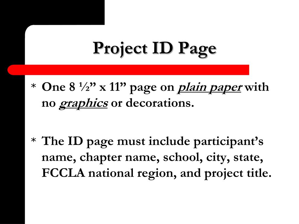 Project ID Page