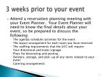 3 weeks prior to your event