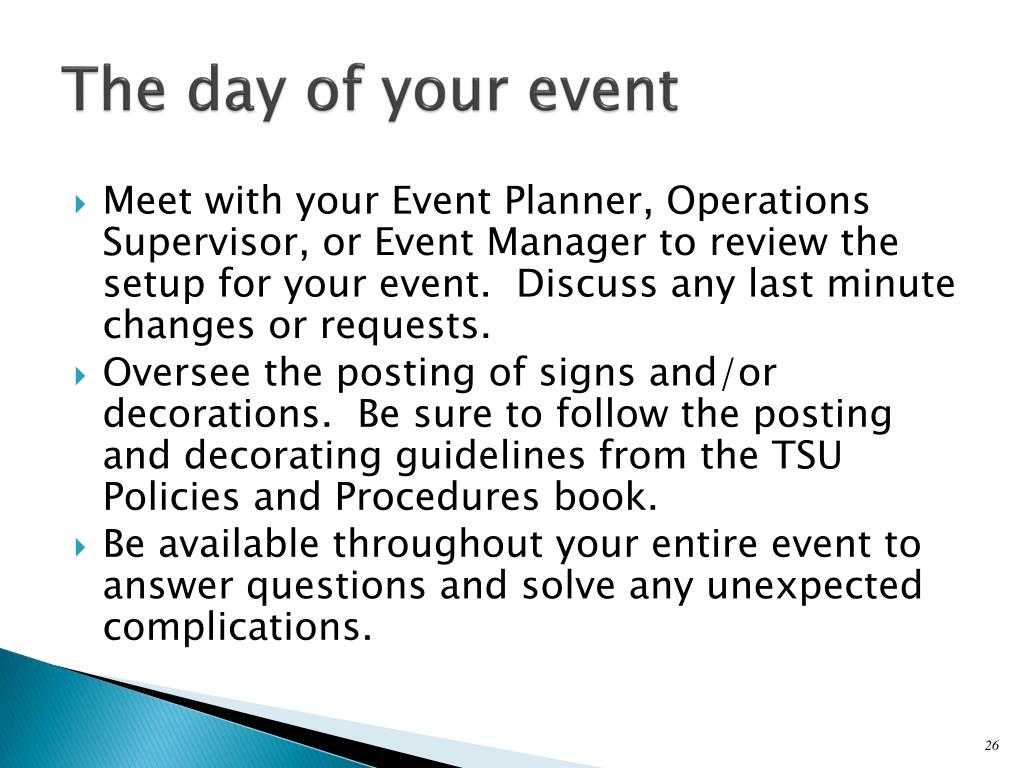 The day of your event