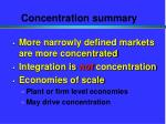 concentration summary