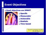 event objectives