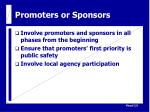 promoters or sponsors