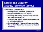 safety and security issues terrorism cont