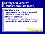 safety and security issues terrorism cont35