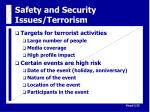 safety and security issues terrorism