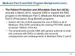 medicare part d and rac program background cont