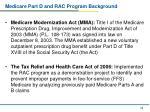 medicare part d and rac program background