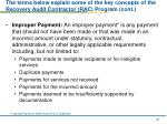the terms below explain some of the key concepts of the recovery audit contractor rac program cont