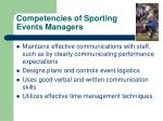 competencies of sporting events managers