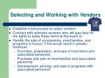 selecting and working with vendors