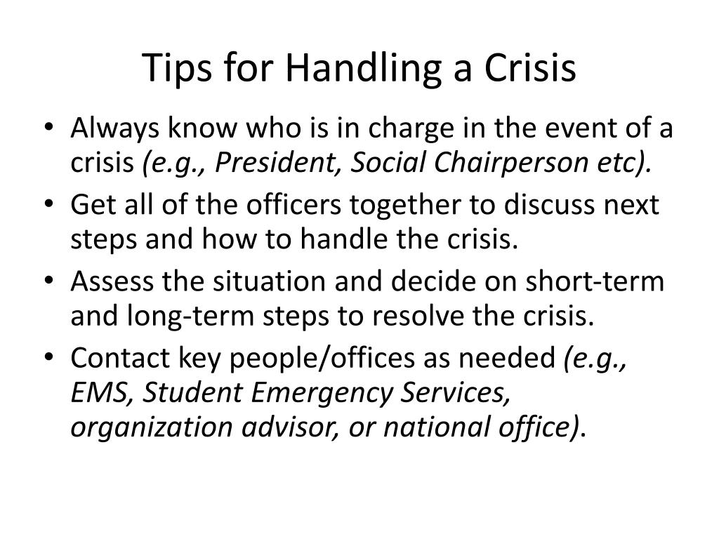 Tips for Handling a Crisis