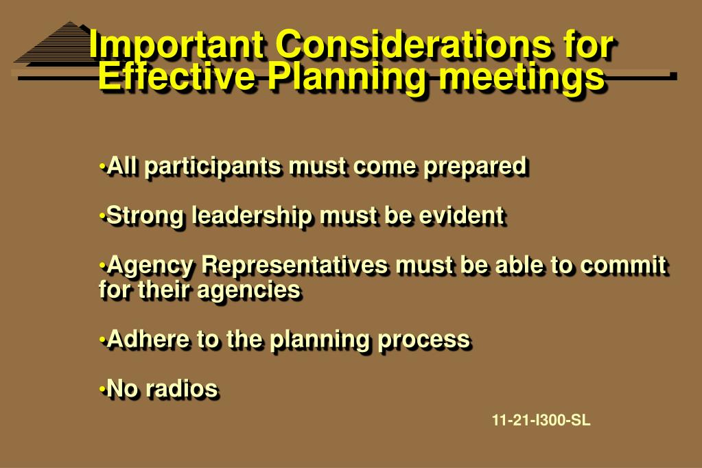 Important Considerations for Effective Planning meetings