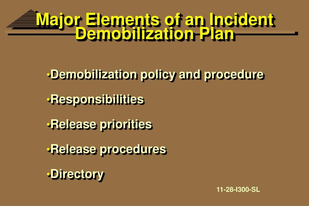 Major Elements of an Incident Demobilization Plan