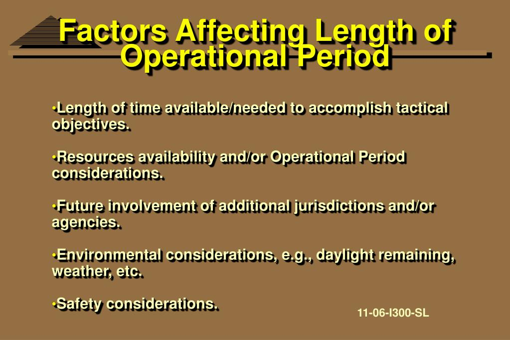 Factors Affecting Length of Operational Period