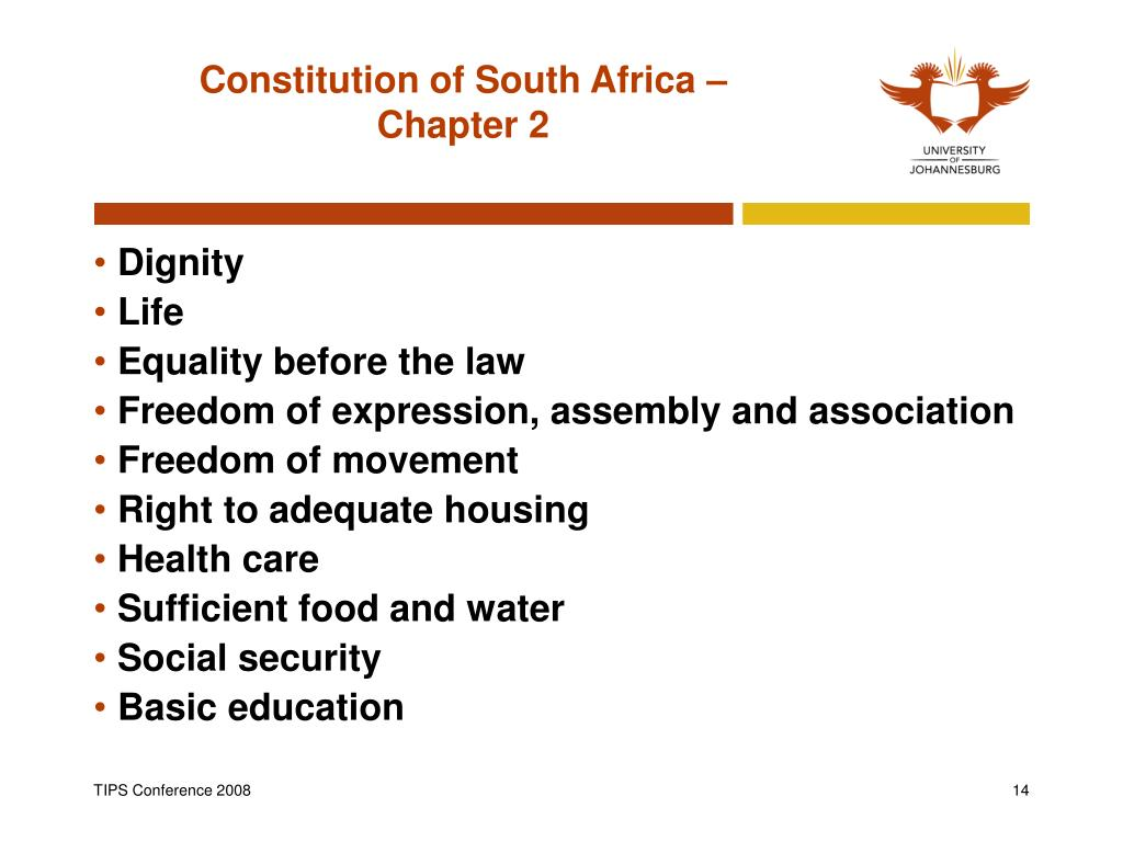 Constitution of South Africa –