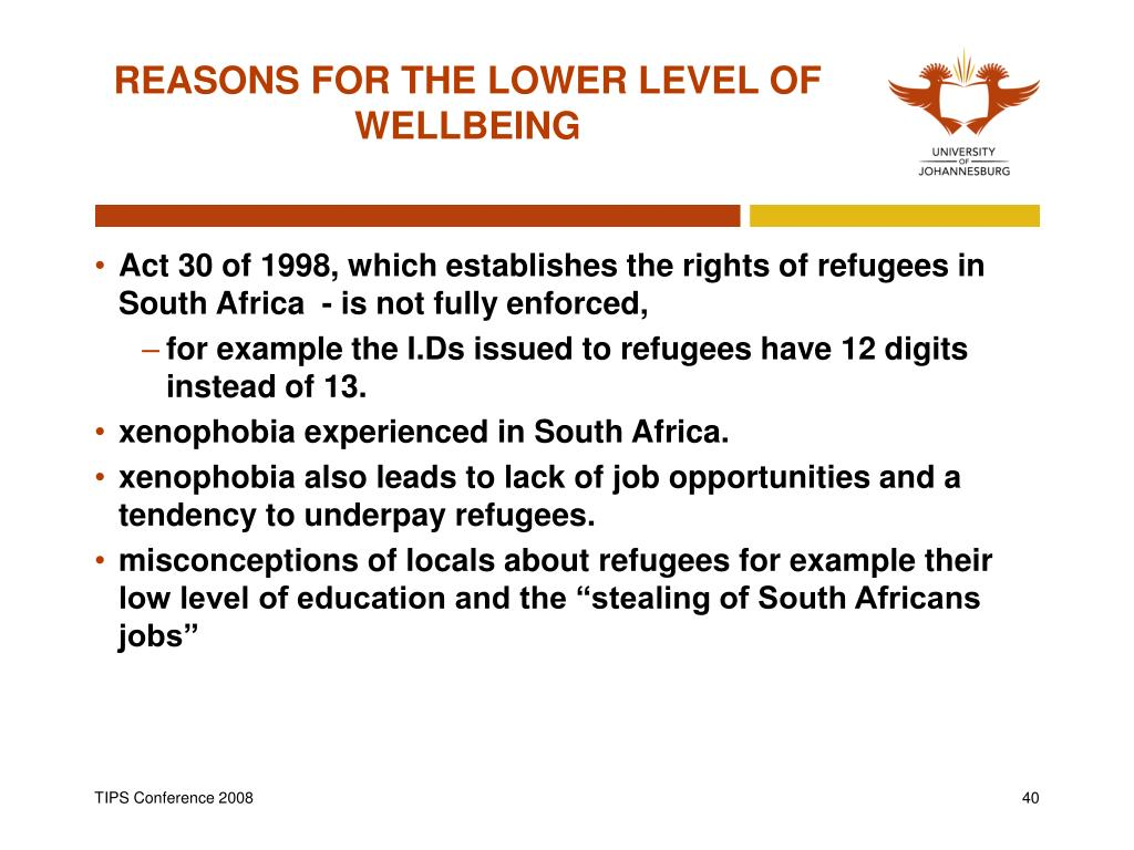 REASONS FOR THE LOWER LEVEL OF WELLBEING