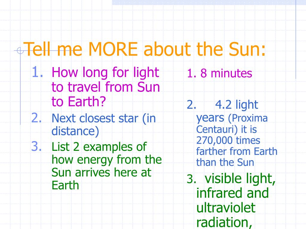 How long for light to travel from Sun to Earth?